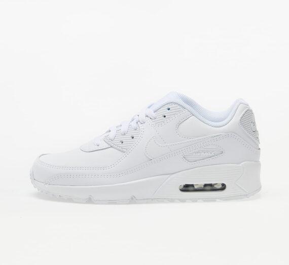 Nike Air Max 90 Leather (GS) White/ White-Metallic Silver-White 53105