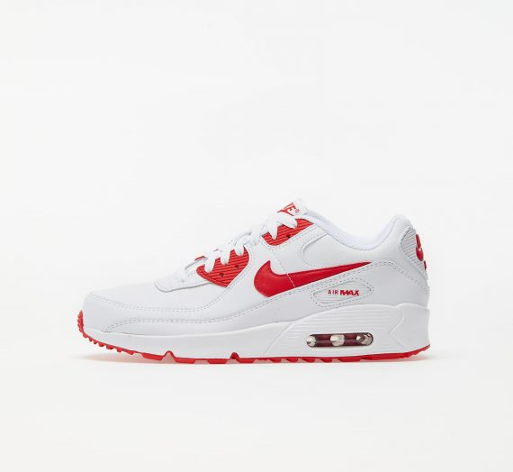 Nike Air Max 90 Leather (GS) White/ Hyper Red-Black