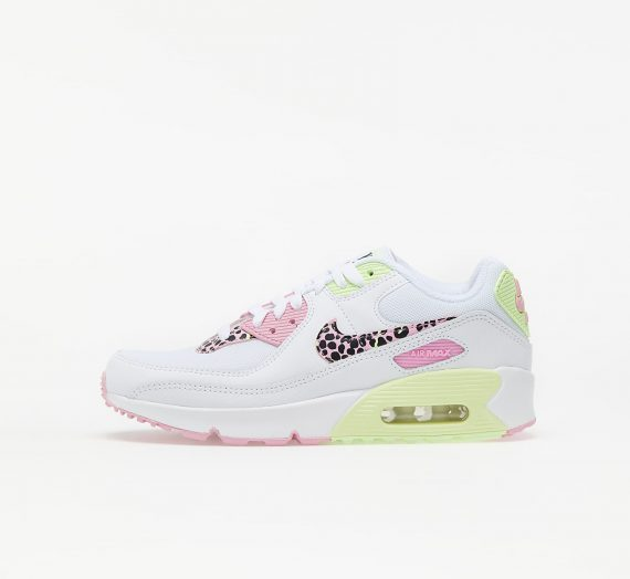 Nike Air Max 90 GS White/ Pink Rise-Pink Rise-Barely Volt 83725