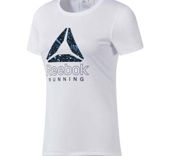 Reebok RUNNING ESSENTIALS GRAPHIC TEE бяло L – Дамска тениска за бягане 1596574