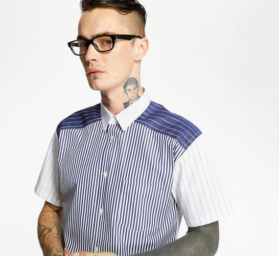 Ризи Comme des Garçons SHIRT Yarn Dyed Stripe Shirt Blue/ White 53477_S