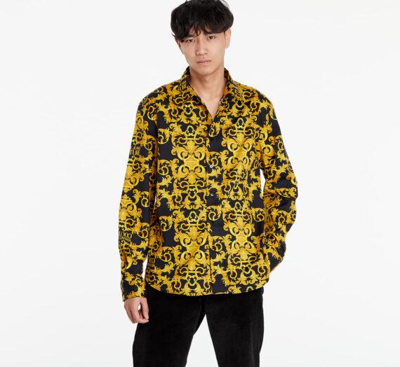 Ризи Versace Jeans Couture Slim Print Logo Baroque Shirt Black/ Gold 118360_48