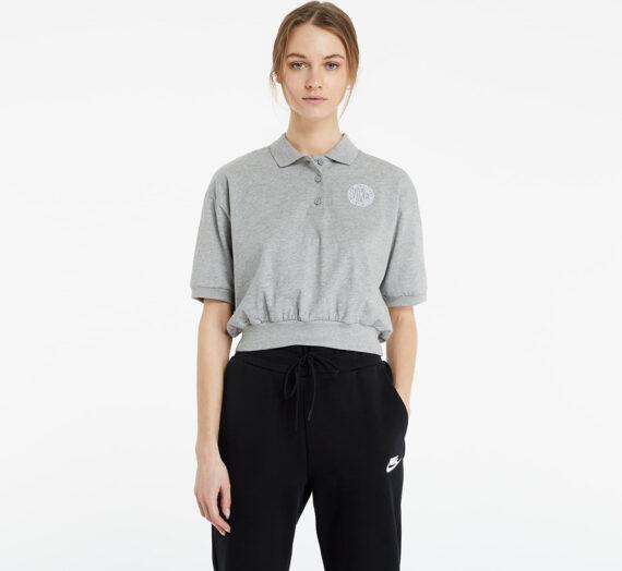Тениски Nike Sportswear Femme Collared Crop Top Dk Grey Heather/ Matte Silver/ White 85399_XS