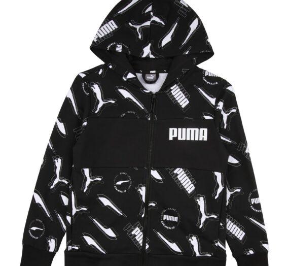 PUMA Суичъри с качулка 'Alpha'  черно / бяло 43070567