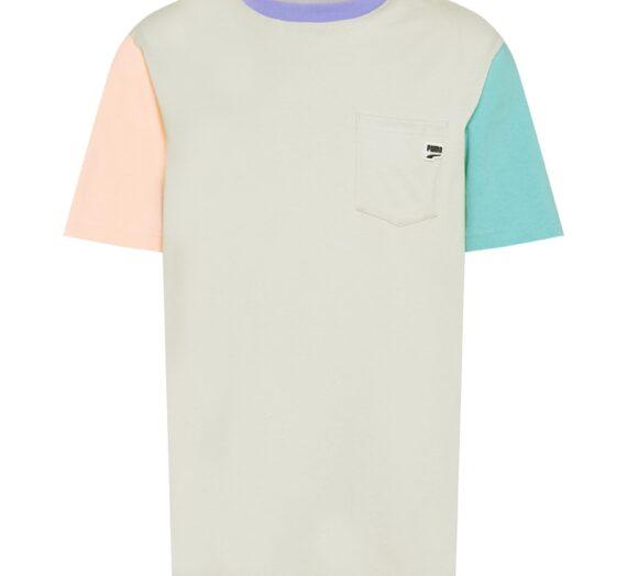 PUMA Тениска 'Downtown'  сиво / лилав / нефритено зелено / праскова 43383575