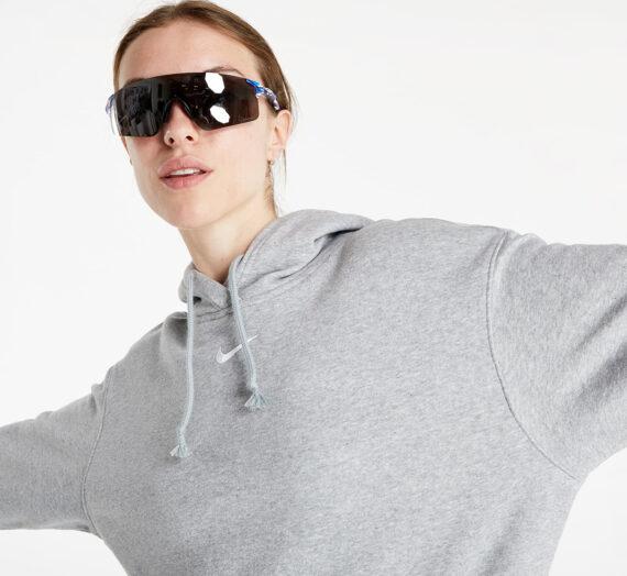Суичъри и пуловери Nike Sportswear Women's Oversized Fleece Hoodie Dk Grey Heather/ Base Grey/ White 812998