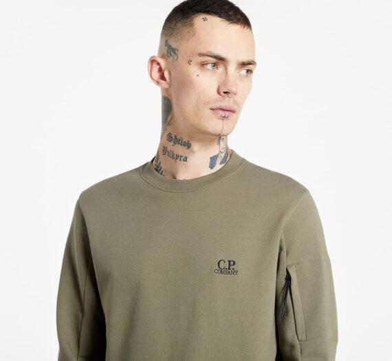 Суичъри и пуловери C.P. Company Diagonal Raised Fleece Crew Neck Green 988237