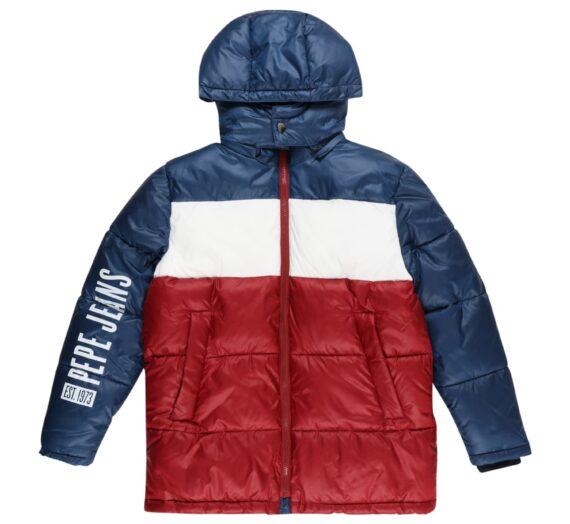 Pepe Jeans Зимно яке 'Fenton'  тъмночервено / морскосиньо / бяло 47188820